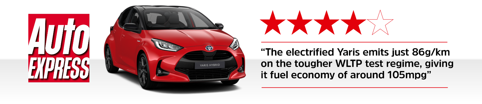 Auto Express - 4 out of 5 stars - The electrified Yaris emits just 86g/km on the tougher WLTP test regime, giving it fuel economy of around 105mpg